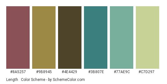 Length & Breadth - Color scheme palette thumbnail - #8a5257 #9b8945 #4e4429 #3b807e #77ae9c #c7d297