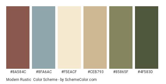 Modern Rustic Color Scheme Palette Thumbnail 8a584c 8fa6ac F5eacf Ceb793