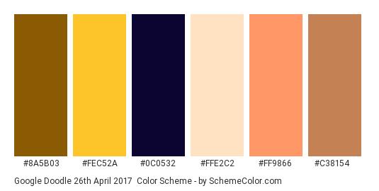 Google Doodle 26th April 2017 - Color scheme palette thumbnail - #8a5b03 #fec52a #0c0532 #ffe2c2 #ff9866 #c38154