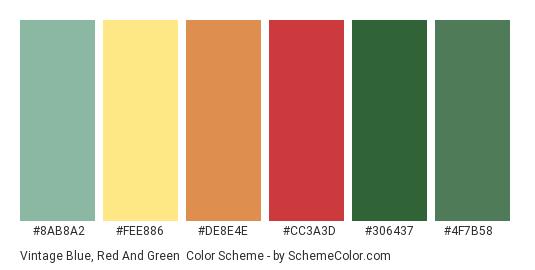 Vintage Blue, Red and Green - Color scheme palette thumbnail - #8ab8a2 #fee886 #de8e4e #cc3a3d #306437 #4f7b58
