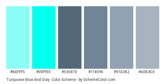 Turquoise Blue and Gray - Color scheme palette thumbnail - #8afff5 #00FFEE #536878 #718596 #91a3b2 #a5b4c0