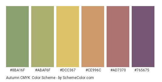 Autumn CMYK - Color scheme palette thumbnail - #8ba16f #abaf6f #dcc367 #ce996c #ad7370 #765675