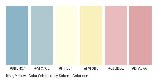 Blue, Yellow & Pink Pastels - Color scheme palette thumbnail - #8bb4c7 #afc7ce #fffee4 #f9f0bc #e8bbbe #dfa5a6