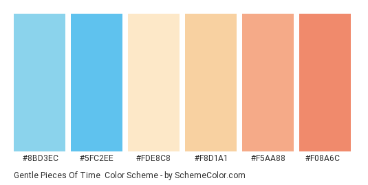 Gentle Pieces of Time - Color scheme palette thumbnail - #8bd3ec #5fc2ee #fde8c8 #f8d1a1 #f5aa88 #f08a6c