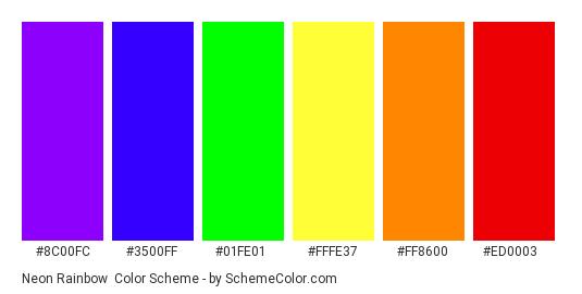 Neon Rainbow - Color scheme palette thumbnail - #8c00fc #3500ff #01fe01 #fffe37 #ff8600 #ed0003