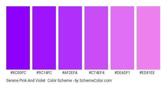 Serene Pink and Violet - Color scheme palette thumbnail - #8c00fc #9c14fc #af2efa #c74ef4 #de6df1 #ed81ee