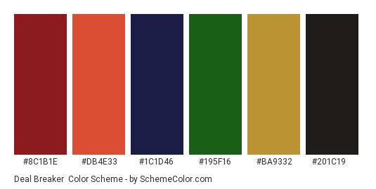 Deal Breaker - Color scheme palette thumbnail - #8c1b1e #db4e33 #1c1d46 #195f16 #ba9332 #201c19