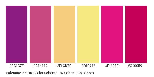 Valentine Picture - Color scheme palette thumbnail - #8c1c7f #c84880 #f6cd7f #f6e982 #e1137e #c40059