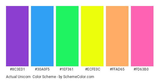 Actual Unicorn - Color scheme palette thumbnail - #8c3ed1 #30a0f5 #1ef361 #ecfe0c #ffad65 #fd63b0