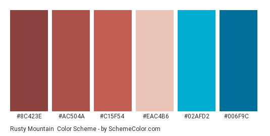 Rusty Mountain - Color scheme palette thumbnail - #8c423e #ac504a #c15f54 #eac4b6 #02afd2 #006f9c