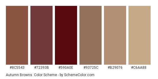 Autumn Browns - Color scheme palette thumbnail - #8c5543 #72393b #590a0e #93725c #b29076 #c6aa88