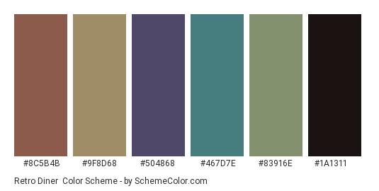 Retro Diner - Color scheme palette thumbnail - #8c5b4b #9f8d68 #504868 #467d7e #83916e #1a1311
