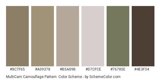 MultiCam Camouflage Pattern - Color scheme palette thumbnail - #8c7f65 #a09378 #b5a89b #d7cfce #76785e #4e3f34
