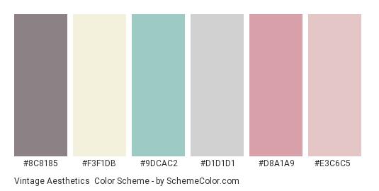 Vintage Aesthetics - Color scheme palette thumbnail - #8c8185 #f3f1db #9dcac2 #d1d1d1 #d8a1a9 #e3c6c5