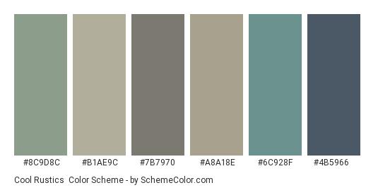 Cool Rustics - Color scheme palette thumbnail - #8c9d8c #b1ae9c #7b7970 #a8a18e #6c928f #4b5966