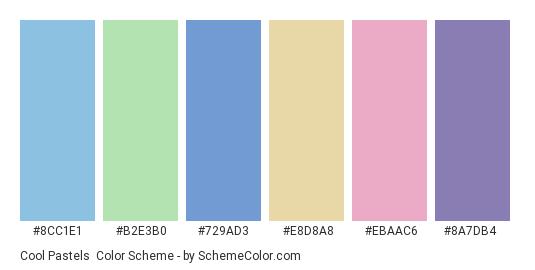 Cool Pastels - Color scheme palette thumbnail - #8cc1e1 #b2e3b0 #729ad3 #e8d8a8 #ebaac6 #8a7db4