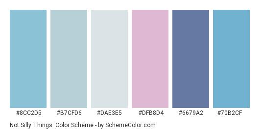Not Silly Things - Color scheme palette thumbnail - #8cc2d5 #b7cfd6 #dae3e5 #dfb8d4 #6679a2 #70b2cf