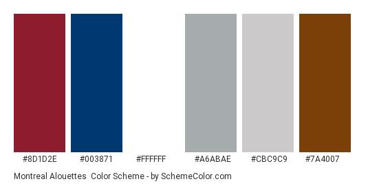 Montreal Alouettes - Color scheme palette thumbnail - #8d1d2e #003871 #ffffff #a6abae #cbc9c9 #7a4007