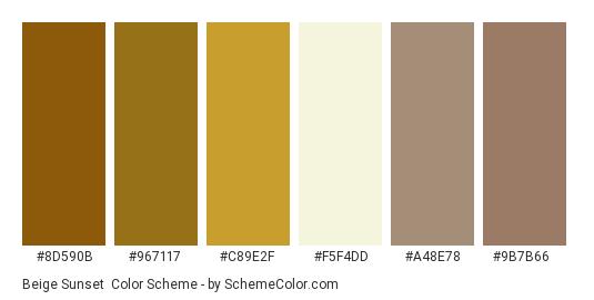 Beige Sunset - Color scheme palette thumbnail - #8d590b #967117 #c89e2f #f5f4dd #a48e78 #9b7b66
