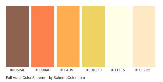 Fall Aura - Color scheme palette thumbnail - #8d624e #fc804c #ffad51 #ecd363 #ffffe6 #fee9c2