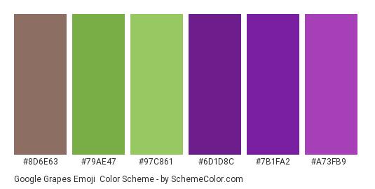 Google Grapes Emoji - Color scheme palette thumbnail - #8d6e63 #79ae47 #97c861 #6d1d8c #7b1fa2 #a73fb9