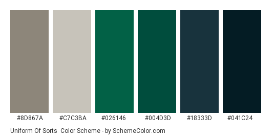 Uniform of Sorts - Color scheme palette thumbnail - #8d867a #c7c3ba #026146 #004d3d #18333d #041c24