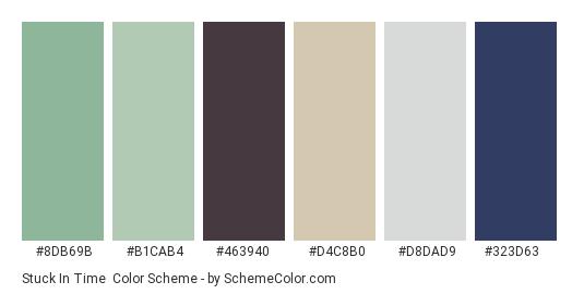 Stuck In Time - Color scheme palette thumbnail - #8db69b #b1cab4 #463940 #d4c8b0 #d8dad9 #323d63