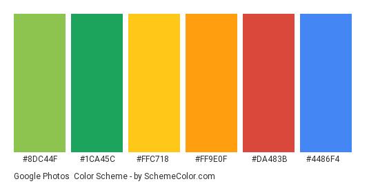 Google Photos - Color scheme palette thumbnail - #8dc44f #1ca45c #ffc718 #ff9e0f #da483b #4486f4