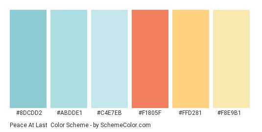 Peace At last - Color scheme palette thumbnail - #8dcdd2 #abdde1 #c4e7eb #f1805f #ffd281 #f8e9b1
