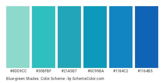 Blue-green Shades - Color scheme palette thumbnail - #8dd9cc #30bfbf #21a5b7 #0c99ba #1184c2 #1164b5