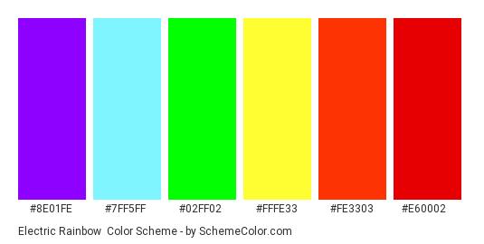 Electric Rainbow - Color scheme palette thumbnail - #8e01fe #7ff5ff #02ff02 #fffe33 #Fe3303 #e60002