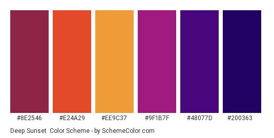 Deep Sunset - Color scheme palette thumbnail - #8e2546 #e24a29 #ee9c37 #9f1b7f #48077d #200363