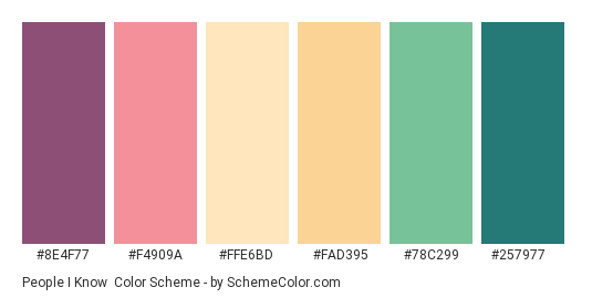 People I Know - Color scheme palette thumbnail - #8e4f77 #f4909a #ffe6bd #fad395 #78c299 #257977