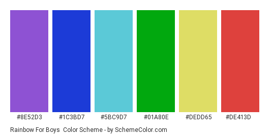 Rainbow for Boys - Color scheme palette thumbnail - #8e52d3 #1c3bd7 #5bc9d7 #01a80e #dedd65 #de413d