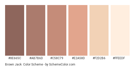 Brown Jack - Color scheme palette thumbnail - #8e665c #ab7b6d #c58c79 #e2a58d #f2d2b6 #ffeedf