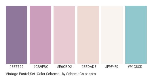 Vintage Pastel Set - Color scheme palette thumbnail - #8e7799 #cb9fbc #e6cbd2 #eedad3 #f9f4f0 #91c8cd