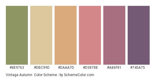 Vintage Autumn - Color scheme palette thumbnail - #8e9763 #dbc99d #daaa7d #d38788 #a86f81 #745a75