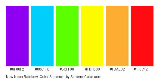 New Neon Rainbow - Color scheme palette thumbnail - #8f00f2 #00cffb #5cff00 #fdfb00 #fdae32 #ff0c12