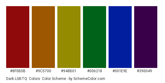 Dark LGBTQ+ Colors - Color scheme palette thumbnail - #8f0b0b #9c5700 #948b01 #006218 #001e9e #390049