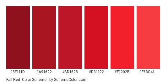 Fall Red - Color scheme palette thumbnail - #8f111d #a91622 #bd1628 #d31122 #f1202b #f63c41