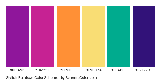 Stylish Rainbow - Color scheme palette thumbnail - #8f169b #c62293 #ff9036 #f9dd74 #00ab8e #321279
