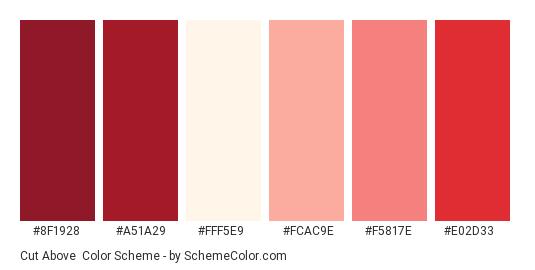 Cut Above - Color scheme palette thumbnail - #8f1928 #a51a29 #fff5e9 #fcac9e #f5817e #e02d33