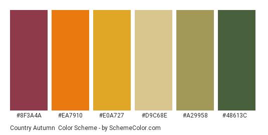 Country Autumn - Color scheme palette thumbnail - #8f3a4a #ea7910 #e0a727 #d9c68e #a29958 #48613c