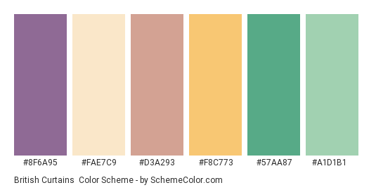 British Curtains - Color scheme palette thumbnail - #8f6a95 #fae7c9 #d3a293 #f8c773 #57aa87 #a1d1b1