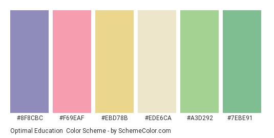 Optimal Education - Color scheme palette thumbnail - #8f8cbc #f69eaf #ebd78b #ede6ca #a3d292 #7ebe91