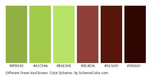 Different Green and Brown - Color scheme palette thumbnail - #8fb043 #a1c94a #b6e368 #8e4036 #561609 #300601