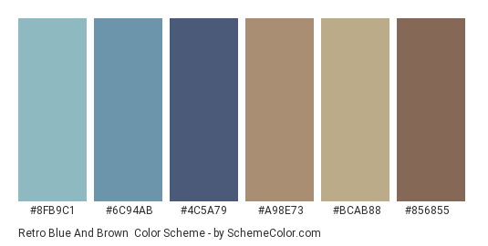 Retro Blue and Brown - Color scheme palette thumbnail - #8fb9c1 #6c94ab #4c5a79 #a98e73 #bcab88 #856855