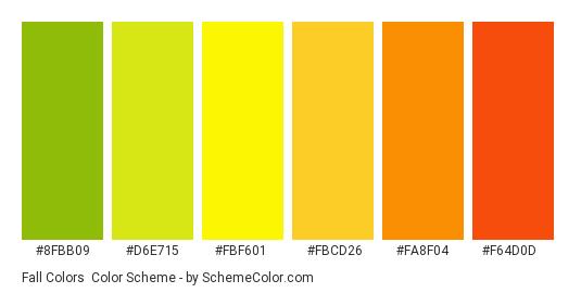 Fall Colors - Color scheme palette thumbnail - #8fbb09 #d6e715 #fbf601 #fbcd26 #fa8f04 #f64d0d