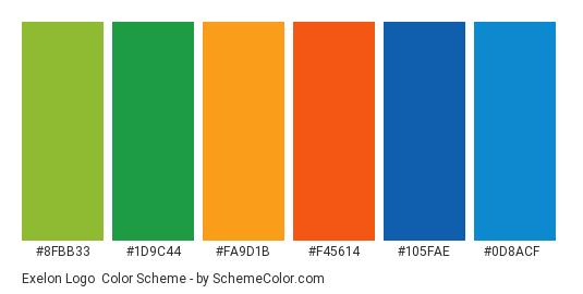 Exelon Logo - Color scheme palette thumbnail - #8fbb33 #1d9c44 #fa9d1b #f45614 #105fae #0d8acf