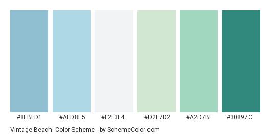 Vintage Beach - Color scheme palette thumbnail - #8fbfd1 #aed8e5 #f2f3f4 #d2e7d2 #a2d7bf #30897c